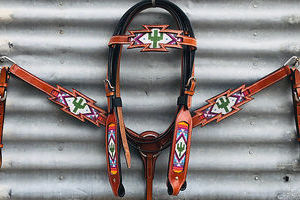 Cacti Bridle & Breastplate Set Western Bridle